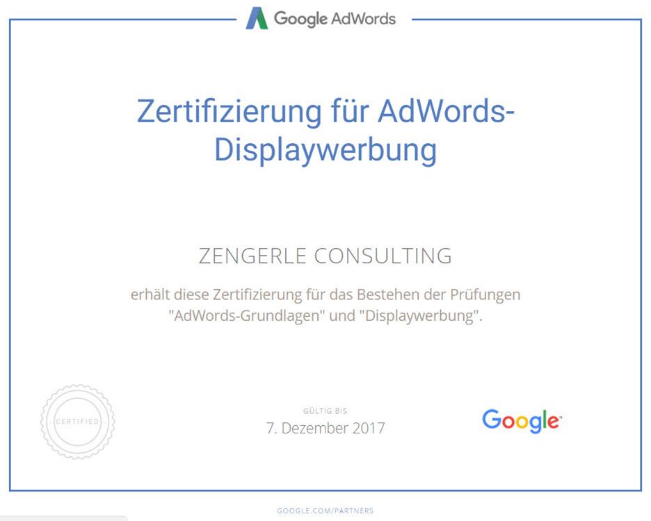 Displaywerbung Zertifikat Google