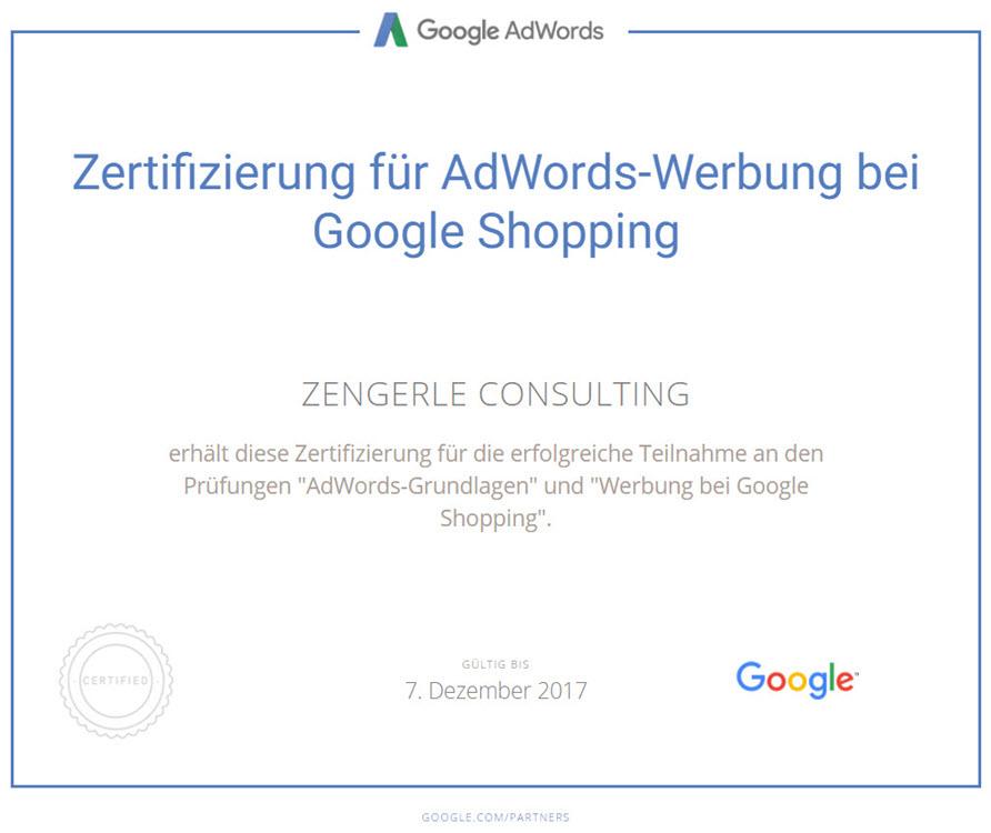 Google Shopping Zertifikat Google