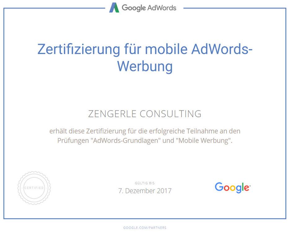 Mobil Werbung Zertifikat Google