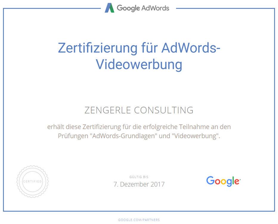 Videowerbung Zertifikat Google